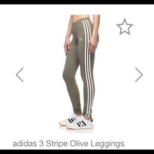 Adidas Three Stripe Olive Green Leggings Size S